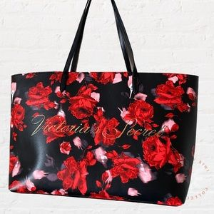 VICTORIAS SECRET Rose Tote Bag Black Red